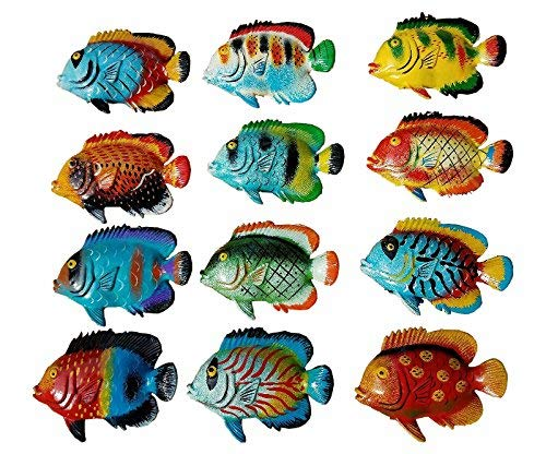 Fish Decor For Walls (Multi-Color Exotic Set of (12) Decorative Wall Decor Fish with Free Fish)