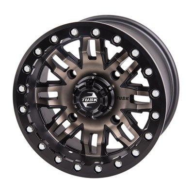 (4/156 Tusk Teton Beadlock Wheel 14x7 4.0 + 3.0 Smoke/Black for Polaris RANGER RZR XP 1000 2014-2018)
