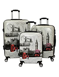 ICE CANADA 3-Piece Luggage Set - Large, Medium and Carry On Suitcase with Wheels, Lock, and Telescopic Handle (LONDON I)