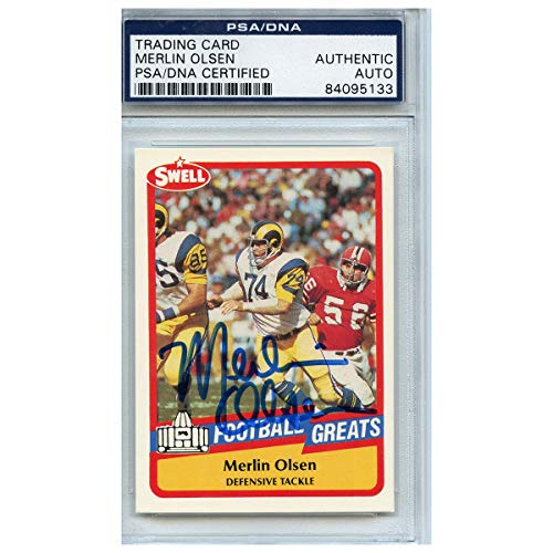 - Merlin Olsen Autographed Signed Football Trading Card Los Angeles Rams PSA/DNA #84095133