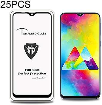 Black Color : Black Phone Glass Film HUFAN 25 PCS Full Screen Full Glue Anti-Fingerprint Tempered Glass Film for Galaxy M20
