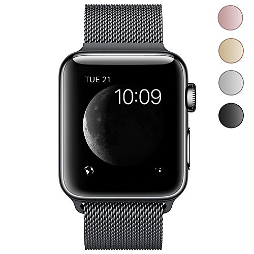 BRG Apple Watch Band, Stainless Steel Mesh Milanese Loop with Adjustable Magnetic Closure Replacement iWatch Band for Apple Watch Series 3 Series 2 Series 1 Nike+ Sport Edition 42mm Black