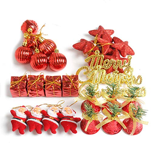 millet16zjh 28Pcs/Box Christmas Tree Santa Star Jingle Bell Glitter Hanging Decor Red