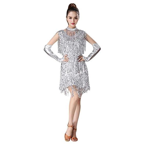 e0c2fe39c5ac Hongyuangl Femmes Robe de Danse Latine pour Rumba Tango Dancewear  Paillettes à Franges Paillettes et Gants  Amazon.fr  Vêtements et  accessoires