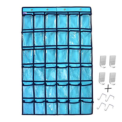 Classroom Pocket Chart, Clear Pocket for Cell Phone Calculator Holder Wall Door Hanging Organizer for Classroom Office Home Storage, 36 Clear Pockets (Chart Autumn)