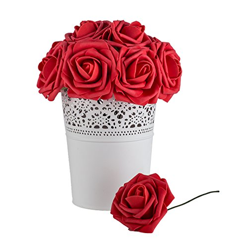 Dinopure Wedding Bouquet 50pcs Artificial Flowers White Real Touch Artificial Roses for Bouquets Centerpieces Wedding Party Baby Shower DIY Decorations (red)