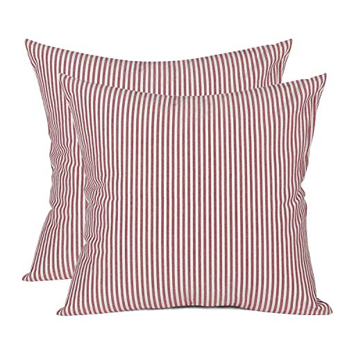 (COMHO Pack of 2, Cotton Woven Striped Throw Pillow Covers Set, Decorative Cushion Covers, Square Farmhouse Pillowcases, for Couch Bed Sofa 18x18 Inch/45x45 cm (Red))