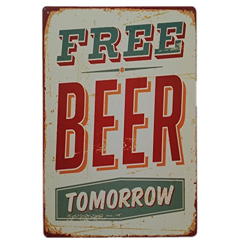 +Urbano Free Beer Tomorrow Sign for Man Cave, Home, Bar or Restaurant - 8x12 Inches Size Made of ()
