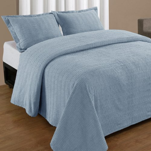 Full Blue Natick Contemporary Cotton Chenille Bedspread