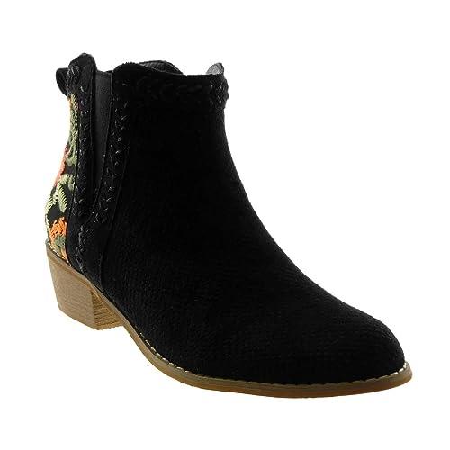 Angkorly Zapatillas Moda Botines Botas Mocasines Chelsea Boots Mujer Flores Perforado Bordado Tacón Ancho Alto 4 cm: Amazon.es: Zapatos y complementos