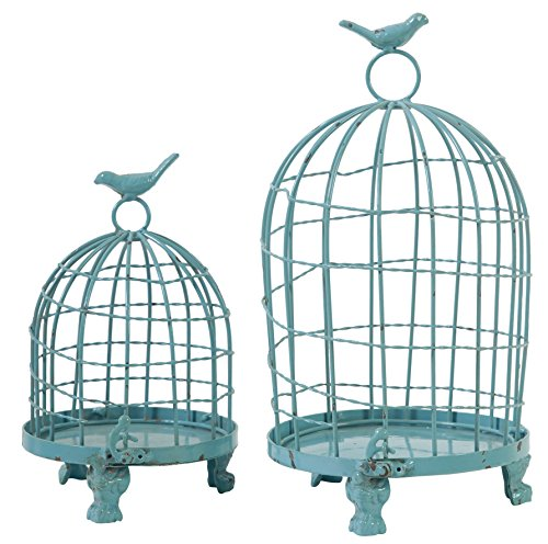 A&B Home 33301-BLUE Set of 2 Stella Decorative Birdcages with Bird Finial, Blue