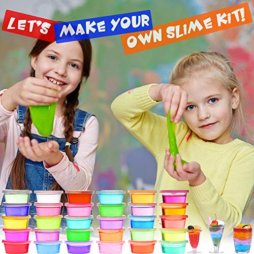 Slime Kit, 135 Pack Slime Making Kit 30 Crystal Slime, Glitter Jars, Charms, Sugar Paper, Foam Beads, Fishbowl Beads, Toy Cups, Slices, Air Dry Clay and Tools for Kids Girls by WINLIP by WINLIP (Image #6)