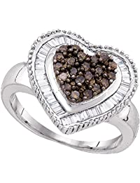 Sterling Silver Brown Diamond Heart Ring Love Band Chocolate Promise Style Cocktail Design Fancy 3/4 ctw