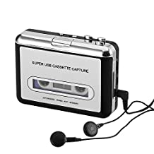 Cassette Tape-to-MP3 Converter - Plug and Play, Win + Mac Compatible, Auto Reverse, Audacity Audio Software