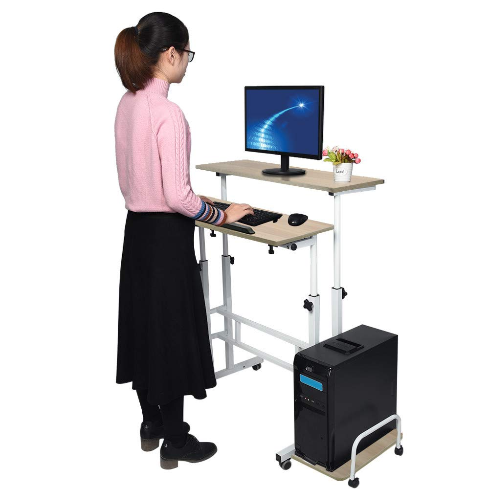 Hunzed Home & Kitchen Adjustable Standing Desk - Controllable Height Computer Table with Swinging Footrest Optional for Standing and Seating 2 Modes (Yellow)