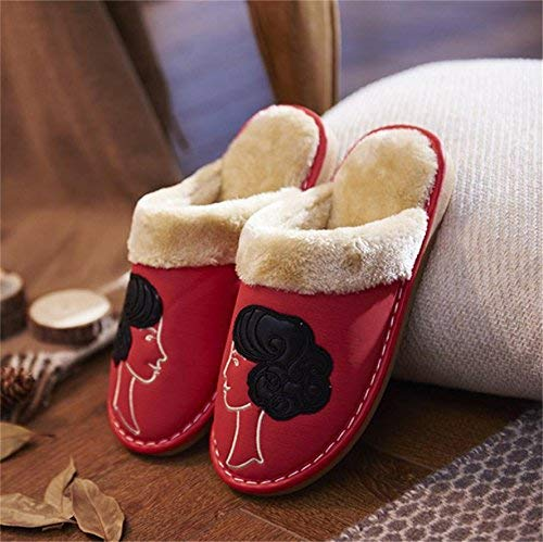 1 JaHGDU Women 's Home Cotton Slippers Indoor Keep Warm Casual Slippers Big Red Soild color Personality Quality for Women