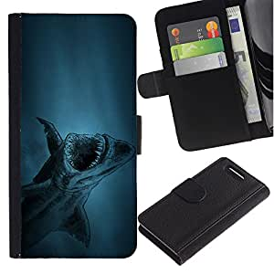 KingStore / Leather Etui en cuir / Sony Xperia Z1 Compact D5503 / tiburón akula peces ryba
