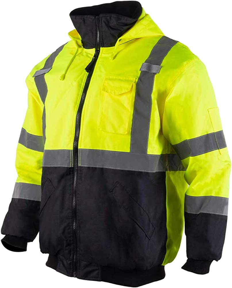 VENDACE Men's ANSI Class 3 High Vis Safety Reflective Bomber Jacket Hoodie Waterproof with Detachable Hood: Clothing