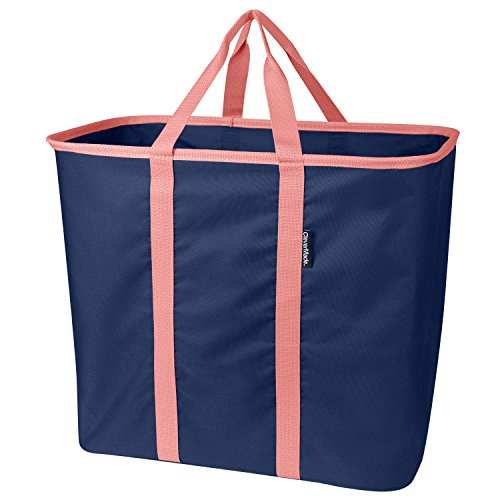 CleverMade SnapBasket LaundryCaddy Pop-Up Hamper: Collapsible Laundry Basket/Tote Bag, Navy/Rose