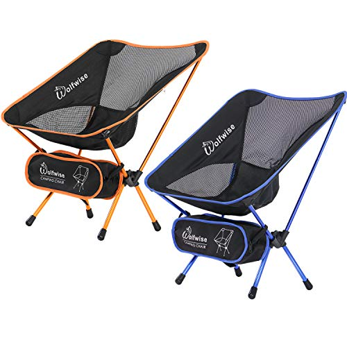 WolfWise Ultralight Portable Camping Chair, Compact Folding Backpacking Lounge Chairs for Outdoor Picnic Beach Hiking Fishing with Carry Bag and Two Carabiner, Yellow