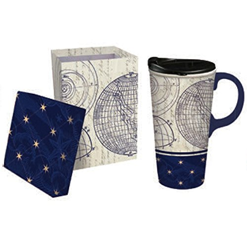 "Cypress Home Starstruck with Metallic Accents 17 oz Boxed Ceramic Perfect Travel Coffee Mug or Tea Cup with Lid - 3""W x 5.25""D x 7""H"