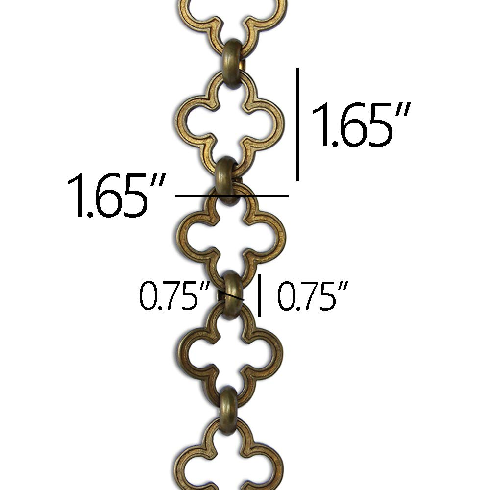RCH Hardware CH-37-PN-3 Decorative Polished Nickel Solid Brass Chain for Hanging, Lighting - Cross Clover Design Unwelded Links (3 ft/1 Yard)