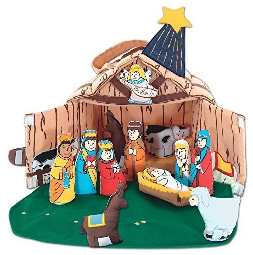 Pockets Of Learning Fabric Nativity Manger Set for Children By