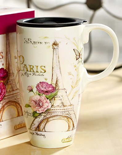 A Ting Tall Ceramic Travel Mug 17 oz. Sealed Lid With Gift Box (paris)