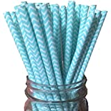 Just Sip It Biodegradable Vintage Paper Drinking Straws, Blue, Pack of 50