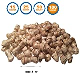123 Treats | Rawhide Bones with Pork wrapped 4-5 (100 Count) inches Delicious twister Bone chews