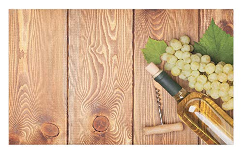 (Ambesonne Winery Doormat, Wine Bottle and Bunch of Grapes on Wooden Table Background Romantic Italian Dinner, Decorative Polyester Floor Mat with Non-Skid Backing, 30