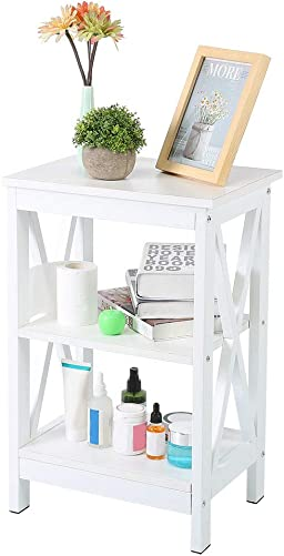 POCREATION White Nightstand 3-Tier X-Design White Storage Shelves and Stable Structure Storage Organizer Display Sofa Side Table