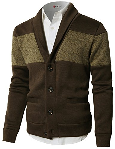 H2H Men's Basic Long Sleeve Button Down V Neck Knitted Cardigan Brown US S/Asia M (CMOCAL010)