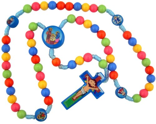 Child Saint Multi Color Prayer Beads with Nativity Centerpiece 15 Inch Cord Rosary for Kids