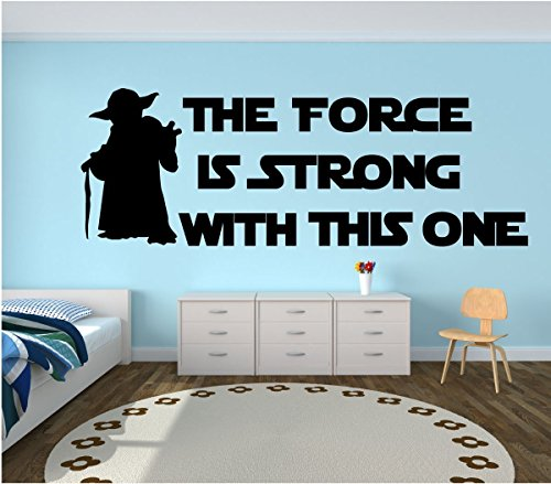 """Yoda Quote Wall Decal Kids Room Decor:""""The Force Is Strong W"""