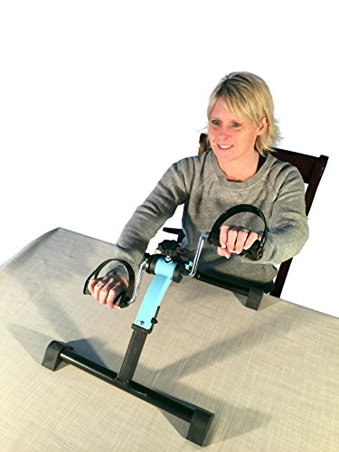 Platinum Fitness PFP2100 Fit Sit Deluxe Folding Pedal Exerciser Leg Machine with Electronic Display, Blue