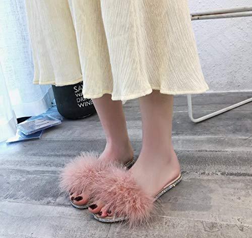 DANDANJIE strass da Scarpe pelle Pantofole Rosa casa autunno donna Pietre in esterno da da in P7Pr1q