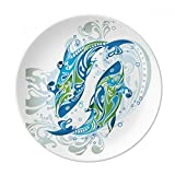 Fish Waves Sea Animal Dessert Plate Decorative Porcelain 8 inch Dinner Home