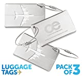 CE Luggage Tags3 Units, Travel Suitcase Bag tag, Stainless Steel. 1-Year Warranty.