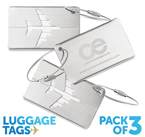 CE Luggage Tags3 Units, Travel Suitcase Bag tag, Stainless Steel. 1-Year Warranty. (Travel Stroller Premium)
