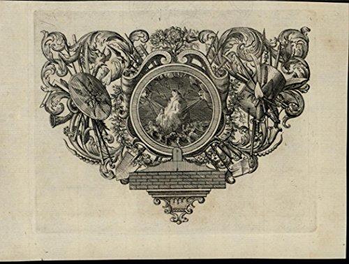 (Sea Gods Bombarding Island Lightning Waves 1705 wonderful rare antique print)