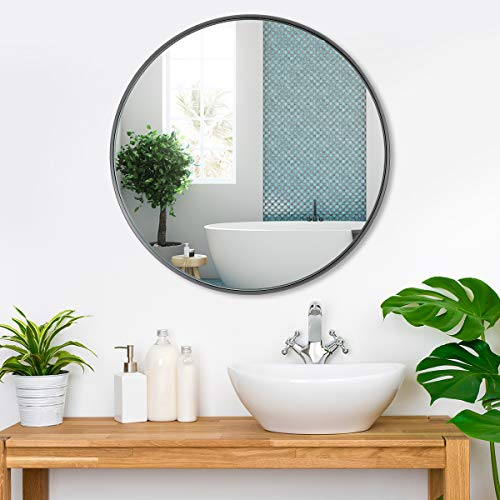 Round Mirror for Wall Black, Circle Large Round Wall Mirror, Black Mirror, 24in Circular Modern Design Bathroom Vanity Mirror with Aluminum Alloy Frame, Wall Decor Mirror