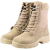4LAND Military Boots Side Zip Man -Men's Tactical Boots Durable Leather Combat Hiking Boots Desert and Camo