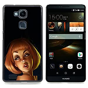 For HUAWEI Ascend Mate 7 - Redhead Drawing 3D Kids Cartoon Woman Case Cover Protection Design Ultra Slim Snap on Hard Plastic - God Garden -