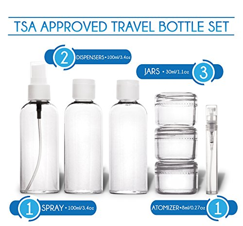 TRAVANDO Hanging Toiletry Bag ''FLEXI'' + 7 Containers for Liquids   Travel Set for Men and Women   Toiletry Kit for Cosmetics, Makeup   Toilet Organiser Suitcase Roll Wash Bag by TRAVANDO (Image #6)