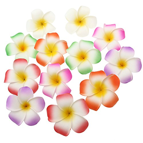 Frcolor 12 Pieces 3.5 Inch Hawaiian Plumeria Flower Hair Clip Foam Hair Accessory for Beach Party Wedding Event Decoration (White Purple Green Rose Red Red (Beach Party Accessories)