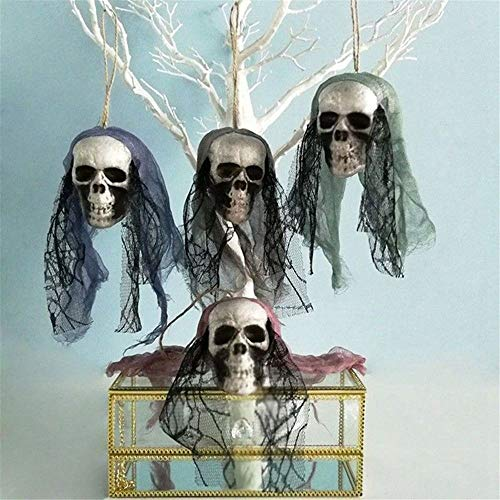 EORTA Set of 4 Ghost Skulls Halloween Hanging Decor Fake Skeleton Pirates Corpse with Lace Headwear Haunted House Props Party Favor for Indoor/Outdoor, Home, Garden, Yard, Bar -
