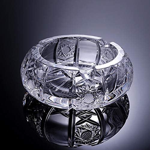 CQ クリエイティブ北欧パーソナリティ傾向は防風シガークリスタルガラスの灰皿リビングルームオフィス灰皿を彫 (Color : Gold)