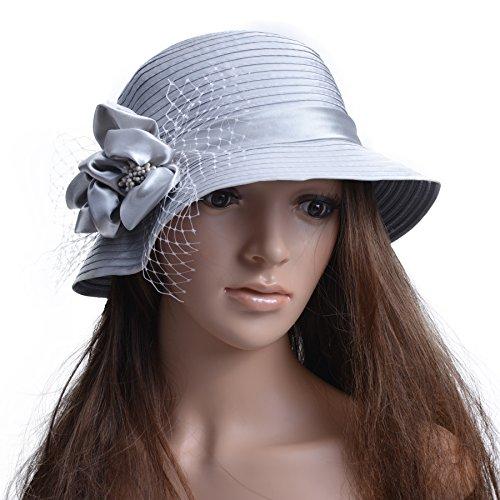 Sun Gray Wedding Church Party Satin Dress Hat French A453 Women Veils Ribbon Lawliet Floral qHBvx