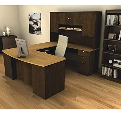 Amazon Com Manhattan U Shaped Computer Desk With Hutch Included